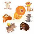 Set of seven funny animals - mouse, rabbit, bear, hedgehog, cat, lion, squirrel — Stock Vector