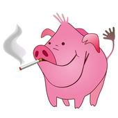 Cerdo divertido con un cigarrillo de tabaco en su ratón — Vector de stock