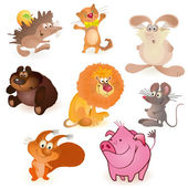 Set of eight funny animals — Stock Vector