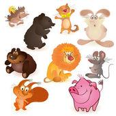 Set of nine funny animals — Stock Vector