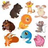 Set of ten funny animals — Stock Vector