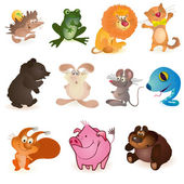 Set of eleven funny animals — Stock Vector