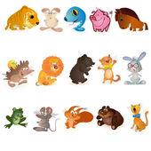Set of fiveteen funny animals — Stock Vector