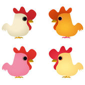 Set of four funny cocks — Stock Vector