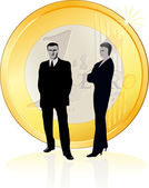 Businessman and businesswoman standing near the big Euro coin — Stock Vector