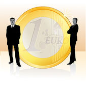 Businessman and businesswoman standing near big Euro coin — Stock Vector