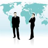 Businessman and businesswoman standing near world`s map (2) — Stock Vector