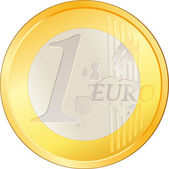 Isolated excellent Euro coin — Stock Vector