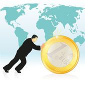 Businessman pushing Euro coin in front of the world`s map — Stock Vector