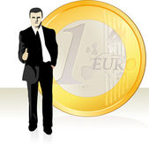 Businessman stretching out his hand in front of the Euro coin — Stock Vector