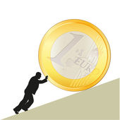 Symbol of business with big Euro coin — Stock Vector