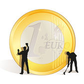 Cleaning of big Euro coin — Stock Vector