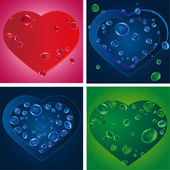 Set of four heart silhouettes with various drops — Stock Vector