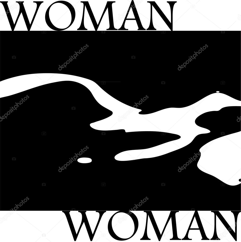 Stylish silhouette of nude woman in black and white — Stock Vector #8485315