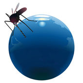 Mosquito sucking out natural resources on the Earth — Stock Vector