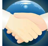 Handshake against dark blue globe background — Stock Vector