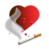 Cigarette with smoke and heart — Stock Vector