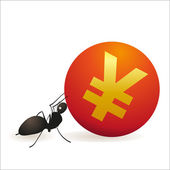 Ant pushing big symbol of Yuan — Stock Vector