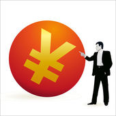 Businessman pointing at the symbol of Yuan — Stock Vector