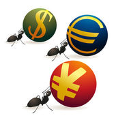 Three ants pushing Yuan Euro and Dollar symbols — Stock Vector
