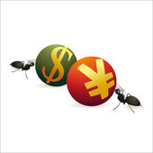 Two ants pushing Dollar and Yuan symbols against each other — Stock Vector