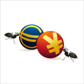 Two ants pushing Yuan and Euro symbols — Stock Vector