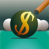 Symbol of Dollar and billiard — Stock Vector