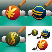 Set of three symbols of US Dollar, Euro, Yuan with billiard — Stock Vector