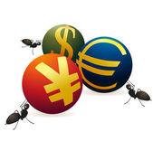 Three ants with three symbols of Yuan, Euro and US Dollar — Stock Vector