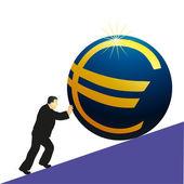 Businessman pushing Euro symbol — Stock Vector
