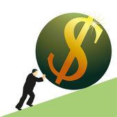 Businessman pushing US Dollar symbol — Stock Vector