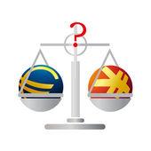 Balance with Euro and Yuan — Stock Vector