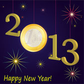 Symbols of New Year 2013 with Euro coin, dark blue — Stock Vector