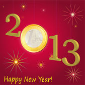 Symbols of New Year 2013 with Euro coin, red — Stock Vector