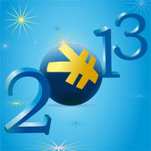 Yellow Yuan symbol in 2013 New Year — Stock Vector