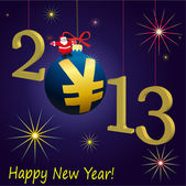 2013 New Year symbols with Santa Claus and Yuan ball — Stock Vector