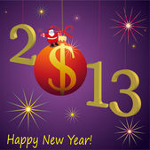 2013 New Year symbols with Santa Claus and red US Dollar ball — Stock Vector