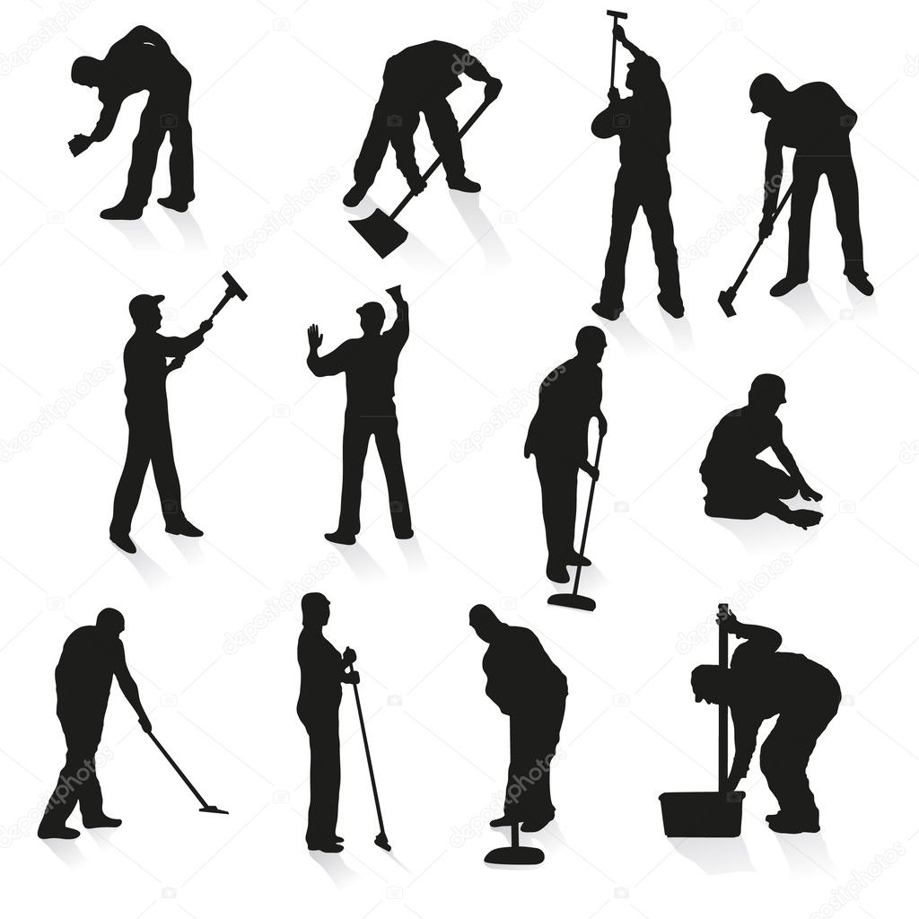 Set of twelve  silhouettes of cleaners — Stock Vector #9733779
