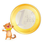 Little cat looking at a big Euro coin — 图库矢量图片