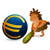 Caveman striking big Euro ball with big cudgel — Stock Vector
