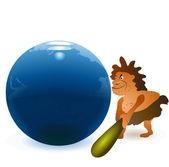 Hombre de las cavernas golpear el globo con gran garrote — Vector de stock