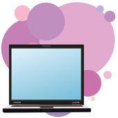 Notebook en achtergrond met lichte violet cirkels — Stockvector