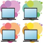4 つのノート パソコンと別のサークルとの背景のセット — ストックベクタ