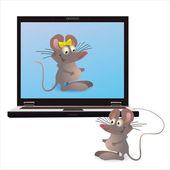 Notebook and two mouses on the screen and attached one — Stock Vector