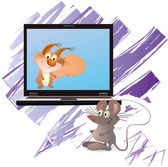 Little mouse and squirrel near notebook, violet brush — Stock Vector