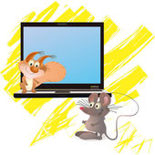 ほとんどのマウスとノートブック、黄色ブラシ近くリス — ストックベクタ