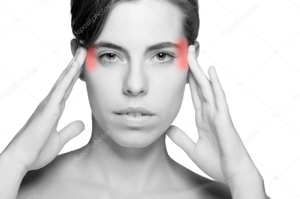 Woman suffering from an headache, holding her hands to the head — Stock Photo #10622326