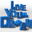 3D Text Inspiration Message Live Your Dream — Stockfoto