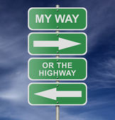 Street Road Sign My Way Or The Highway — Stock Photo