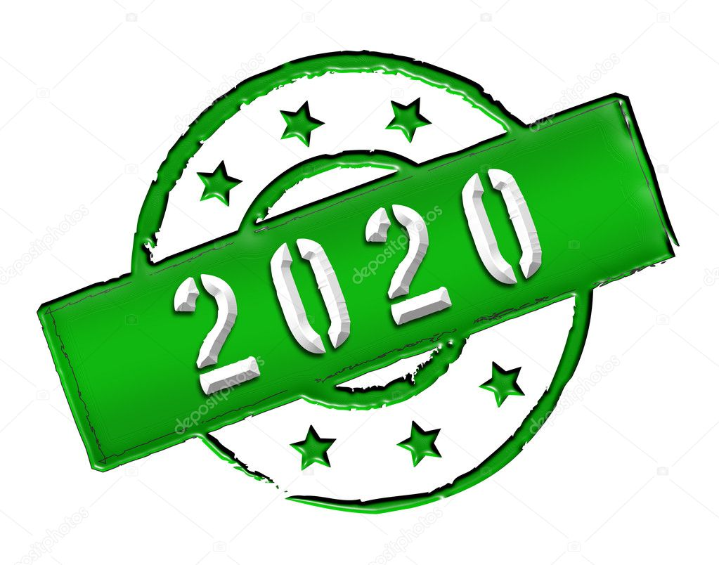 Sign and stamp named 2020 for your presentation, for websites and many more.  Stock Photo #10143732